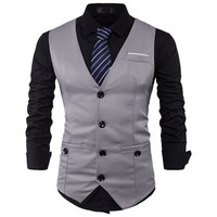 Mens Suit Vest Sleeveless Casual Vest Men Slim Fit Vest Waistcoat Business Wedding Colete Masculino Chaleco Hombre