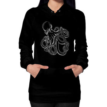 Realistic Octopus White on Black Hoodie (on woman)