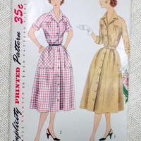 Vintage Pattern Simplicity 3944 dress sewing Full skirt 1950s Rockabilly Bust 44 Fit and Flare plus size extra large Cuffs shirt shirtwaist