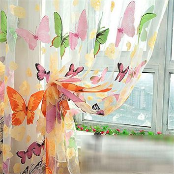 2*1M big Butterfly Print Sheer Curtain Panel Window Balcony Tulle Room Divider Curtain