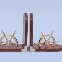 Brass Ship Wheel Bookends
