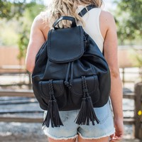 Slumber Party Black Fringe Backpack Handbag