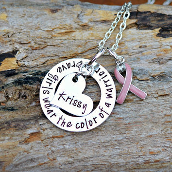 Breast Cancer Necklace with pink awareness ribbon - Brave Girls wear the color of a warrior