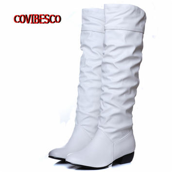 Plus size 2016 new arrive Winter Knee high boots Women Boots Black White Brown flat heels half boots autumn winter shoes