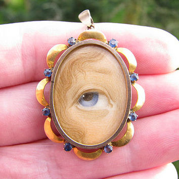 Lovers Eye Locket Pendant, Blue Eye Painted Miniature, 9K Gold with Blue Gems, Charming and Hard to Find