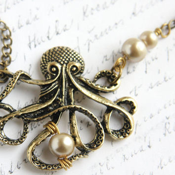 My PEARL, Large Bronze Octopus Pendant,  Long Single Stand Antique Brass Chain Necklace, Captain Nemo Vintage Steampunk Inspired, tagt
