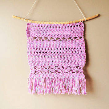 Woven Wall Hanging / Bohemian Cotton Weaving / Fringe Tapestry / Lilac Purple Pink / Rustic Textile / Boho Home Décor / Modern Weaving
