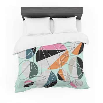 "SusanaPaz ""Stones On Mint"" Green Orange Digital Featherweight Duvet Cover"