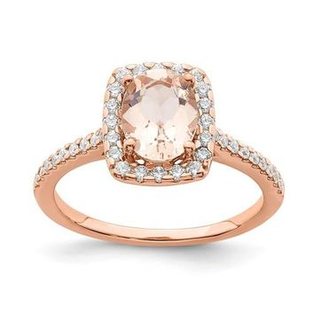 14k Rose Gold Oval Morganite Diamond Halo Engagement Ring