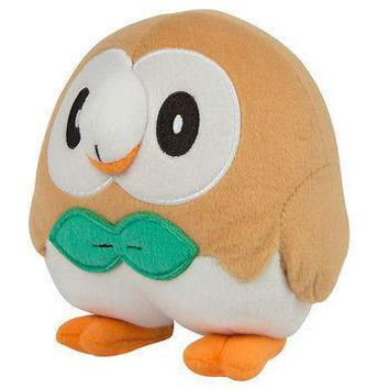 "Tomy Pokemon Sun & Moon Rowlet 7"" Basic Plush Authentic New US Seller USA"