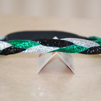 Dark Green (Kelly Green) Silver and Black - Sparkle Glitter BRAIDED Headband -  Made to Order  Optional Colors Available -  by Ladybuglogic