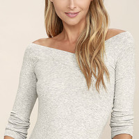 Feeling Free Heather Grey Off-the-Shoulder Top