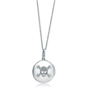 Sterling Silver Necklace Cubic Zirconia CZ Skull Medallion Pendant #n805