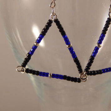 Unique Native American made seed bead dangle earrings - original geometric beaded jewelry,  handmade - birthday idea - Bermuda Triangle