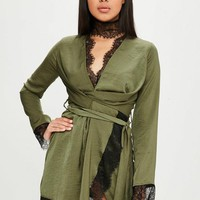 Missguided - Carli Bybel x Missguided Khaki Satin Lace Wrap Dress