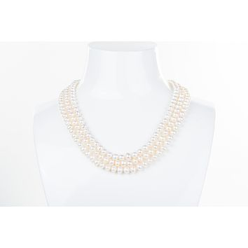 White Triple Strand Layer Freshwater Pearl Necklace 6-7mm
