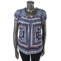 Style & Co. Womens Cap Sleeves Shutter Pleat Casual Top