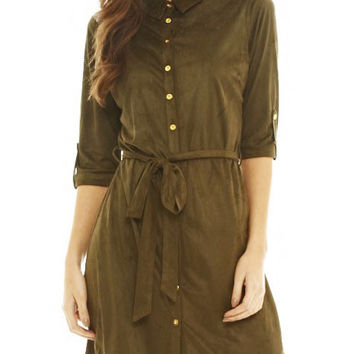 Army Green Fashion Lapel 3/4 Sleeve Single-breasted Cashmere Leather Midi Dress with Belt