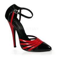 Black Red Patent Two Tone Single Sole Heels
