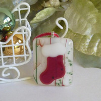 Red and White Holiday Stocking Ornament