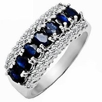 2.15ct Genuine Natural Sapphire Gemstone and Diamond 10k White Gold Ring(Size 5 to 10 in stock)