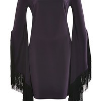 Molly Fringed-Sleeve Satin Mini Dress