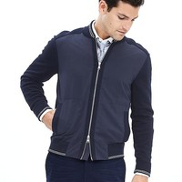 Banana Republic Mens Navy Knit Baseball Jacket