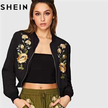 SHEIN Streetwear Black Floral Embroidered Long Sleeve Women Bomber Jacket