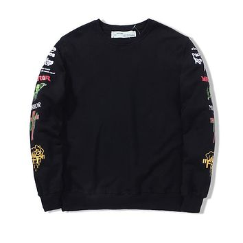 OFF-WHITETROND LIFE OW 2017 Embroidered Printing Sweater S-XL