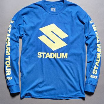DCCKJH6 Justin Bieber Stadium Tour S Blue Long Sleeve T-Shirt