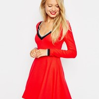 ASOS V Neck Ponti Skater Dress with Trim DETAIL
