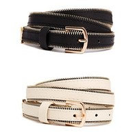 New Look Zip Edge Skinny Belts 2 Pack
