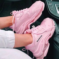 Balenciaga Shoes High Quality Contrast Crystal clear shoes Triple sole Shoes Pink