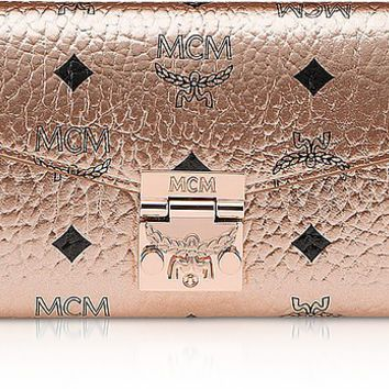 MCM Large Champagne Gold Visetos Patricia Crossbody Wallet