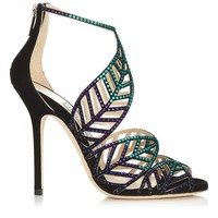 Blue Bottle Mix Suede and Hotfix Crystal Sandals | Kallai | Spring Summer 2014 | JIMMY CHOO
