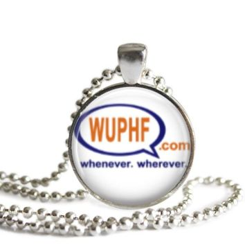 The Office WUPHF 1 Inch Silver Plated Pendant Necklace Handmade