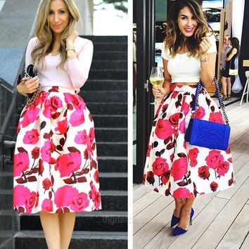 New Fashion Women's Retro Style Rose Red Floral Printed Casual Party Pleated Midi Skirts D_L = 5617713025