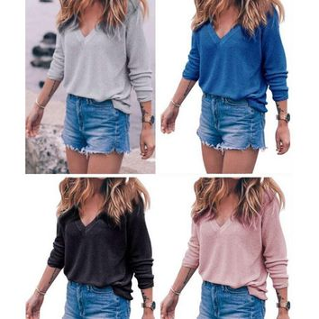 Womens V-neck Long Sleeve Shirts Blouse +Gift Necklace