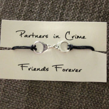 "Bridesmaid's Gift ""Partners in Crime"" Bracelet"