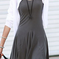 Deep Gray Sleeveless Pleated Dress