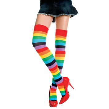 2017 Fashion sale women over the knee socks Rainbow Colorful stripe sock Ladies Long Stripey Stocking