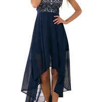 Navy Sleeveless Lace Asymmetrical Dress