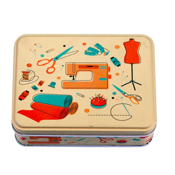 D&D Hard Tin Assorted Sewing Box Sewing Kit with 154pcs Sewing Tools Accessories 17.5*12.5*5.9cm