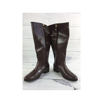 Isaac Mizrahi Live! Wide Calf Riding Boots with Straps Size 7.5M