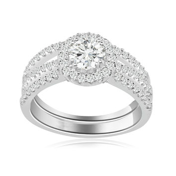 1 Carat Cubic Zirconia Split Shank Halo Engagement Ring with Matching Band (Silver) by CZ Sparkle Jewelry®