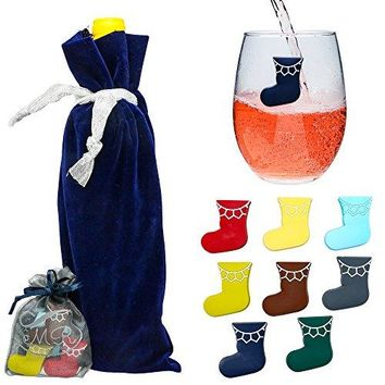 Magnetic Wine Glass Charms Christmas Stockings Holiday Cocktail Markers for Stemless Wine Glasses  Set of 8  including Wine Gift Bag  Perfect Hostess Gift Set or Stocking Stuffer