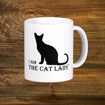 I Am The Cat Lady Coffee Mug, Original Design White Coffee Cup, Cat Coffee Cups 11oz Mug
