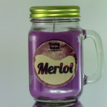 Merlot Wine Soy Wax Candle (No Phthalates, Vegan, Hand Poured, Mason Jar with Handle), 14 oz. Smells like the Red Wine w/ Grape & Plum notes
