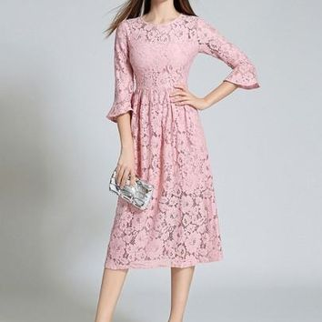 Solid Color Bell Sleeve Women's Lace Dress