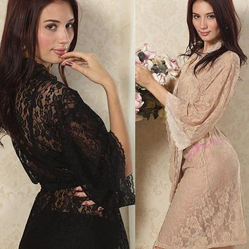 Women Sexy Lace Sleepwear Robes Lady See Through  Babydoll Intimates